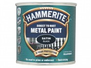 Hammerite Direct to Rust Satin Finish Metal Paint Black 250ml