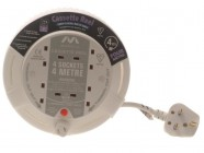 Masterplug Cassette Cable Reel 4 Metre 4 Socket Thermal Cut-Out White 13A 240 Volt