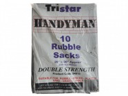Tristar Heavy-Duty Black Rubble Sacks (10) 20 x 31in