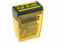 DEWALT DT7908 Torsion Pozidrive Bits PZ2 25mm Flip Box of 25 With Magnetic bit holder