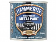 Hammerite Direct to Rust Hammered Finish Metal Paint Black 250ml