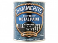 Hammerite Direct to Rust Hammered Finish Metal Paint Black 750ml