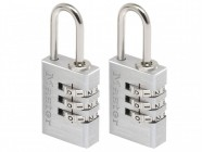 Master Lock Aluminium 20mm 3 Digit Combination Padlock x 2