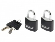 Master Lock Aluminium Black Vinyl Cover 20mm Padlock 3 Pin - Keyed Alike x 2