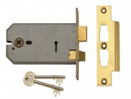 UNION 2077-5 3 Lever Horizontal Mortice Lock 124mm Polished Brass